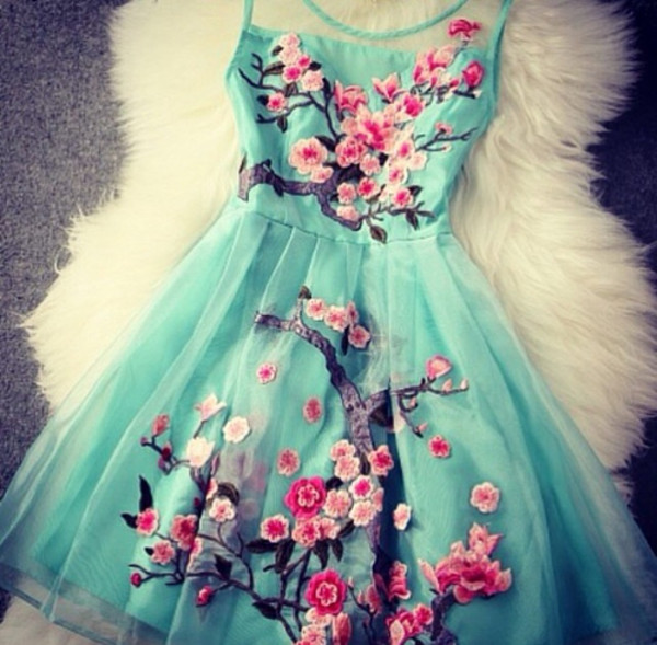 dress flowers flowers blue prom pink turquoise blossom cherry cherry blossom cute party dress summer dress embroidered party