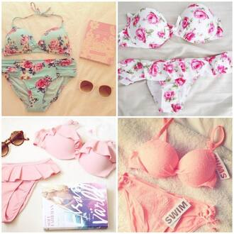 swimwear beautiful pink romantic flowers blue dress white fashion summer