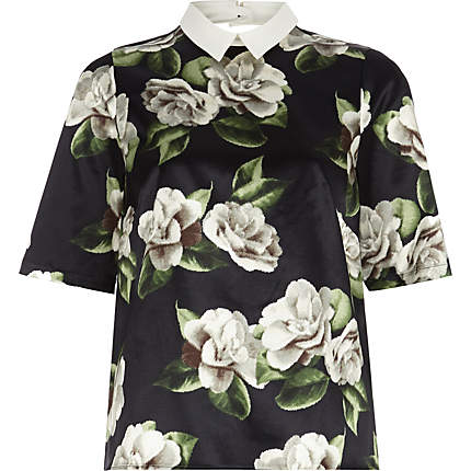 floral contrast collar top - t-shirts - tops - women (£35.00) - Svpply