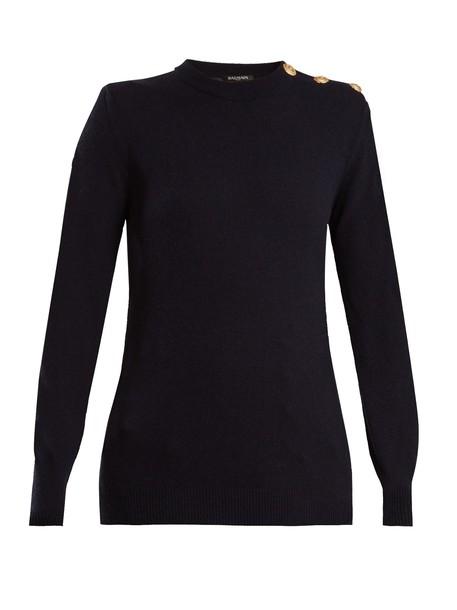 Balmain sweater wool navy