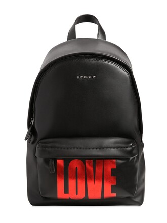 love backpack leather backpack leather black red bag