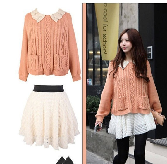 2014 spring new arrival fashion royal preppy style pocket wave twist sweater women