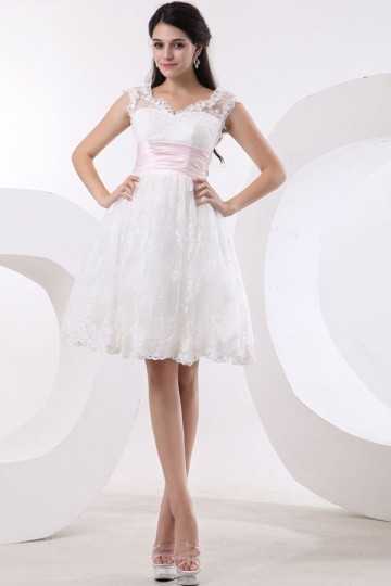 Empire Knee length Sleeveless Ivory Wedding dress with sash [WBCF1872]- US$ 160.99 - PersunMall.com