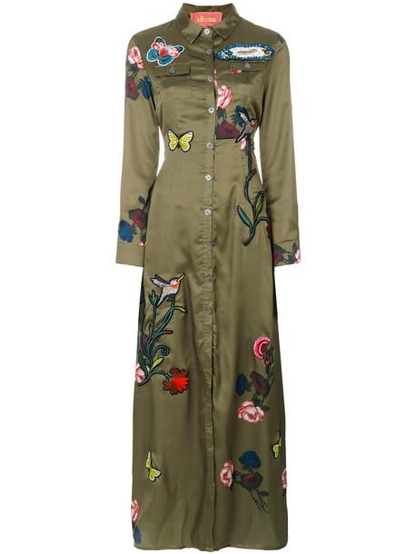 dress shirt dress embroidered women green