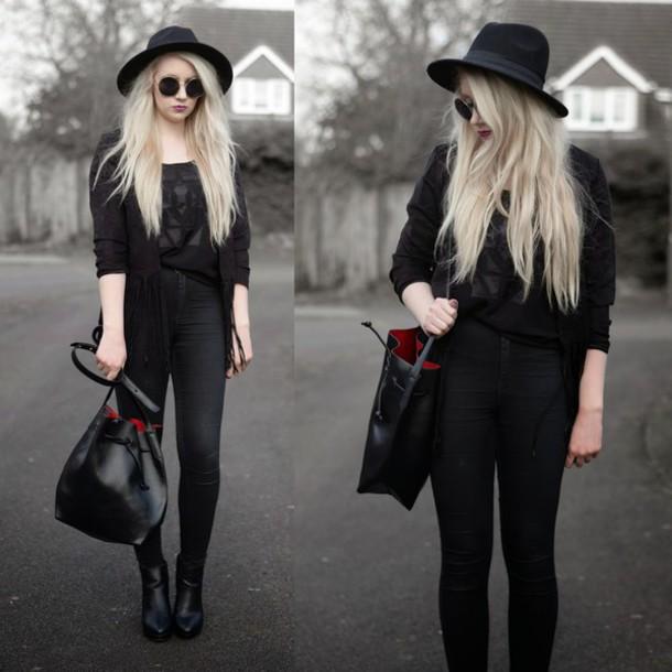 sammi jackson blogger all black everything bucket bag hat sunglasses jacket bag jeans shoes