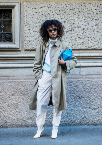 coat tumblr green coat oversized masculine coat fashion week 2017 bag blue bag pants white pants baggy pants boots white boots pointed boots high heels boots sunglasses top no gender oversized coat
