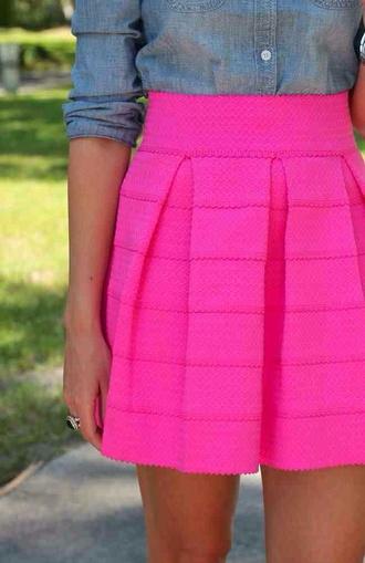 skirt hot pink bandage skirt a-line skirt pink chambray shirt skater skirt skater pleated skirt pleated bandage pink pleated bandage skater skirt spring skirt pink high waisted skirt medium neon pink