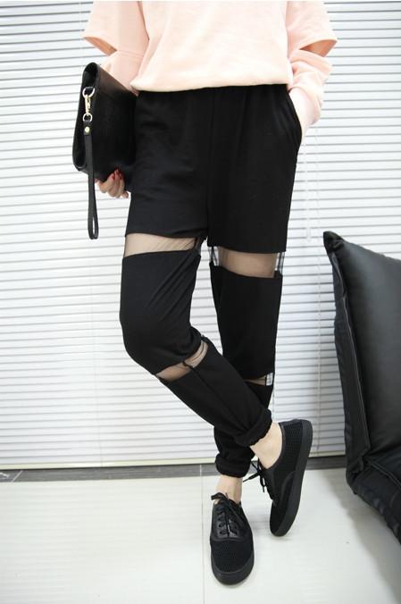 Mesh cutout casual pants (3 colors available) – glamzelle