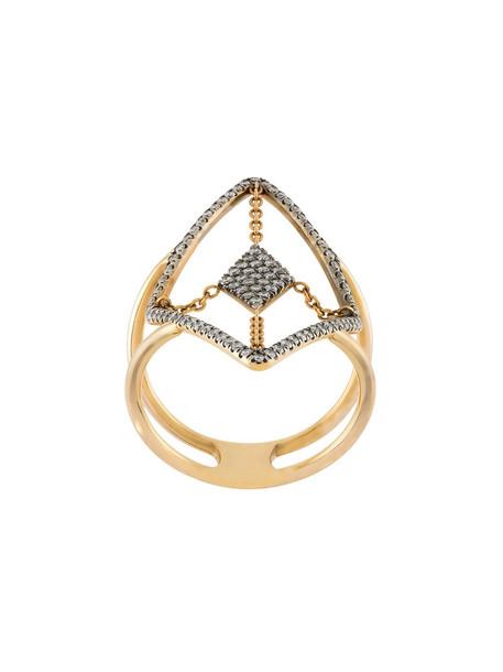 Diane Kordas diamond ring rose gold rose women ring gold grey jewels