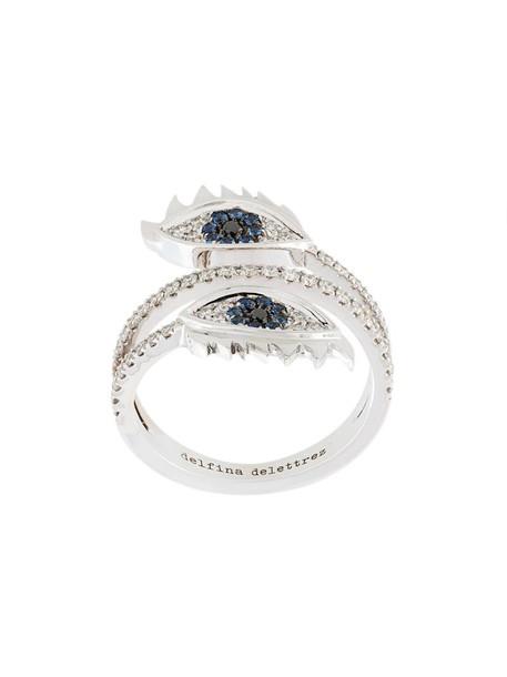 Delfina Delettrez eyes women embellished ring gold grey metallic jewels