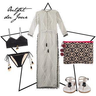 fashion foie gras blogger top sandals outfit black bikini pouch maxi dress