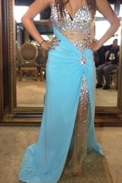 dress,baby blue chiffion rhinestone prom dress