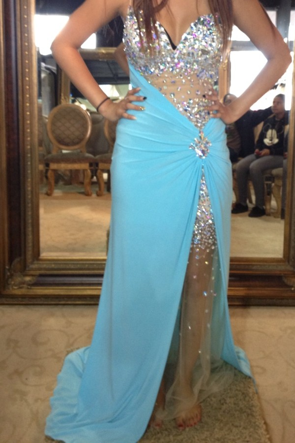 dress baby blue chiffion rhinestone prom dress