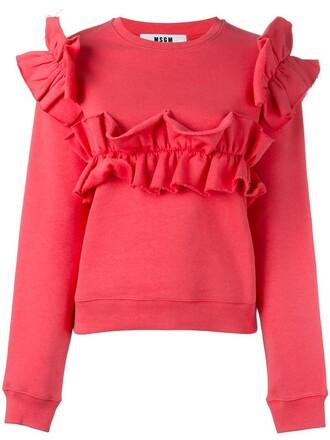 sweatshirt ruffle purple pink sweater