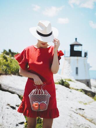dress hat tumblr mini dress red mini dress red dress felt hat bag summer dress