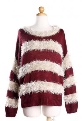 Paperback novel mohair stripe sweater in wine