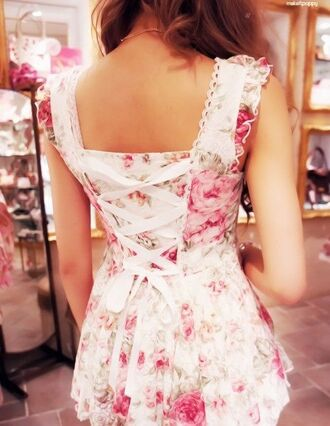 dress roses corset floral dress floral