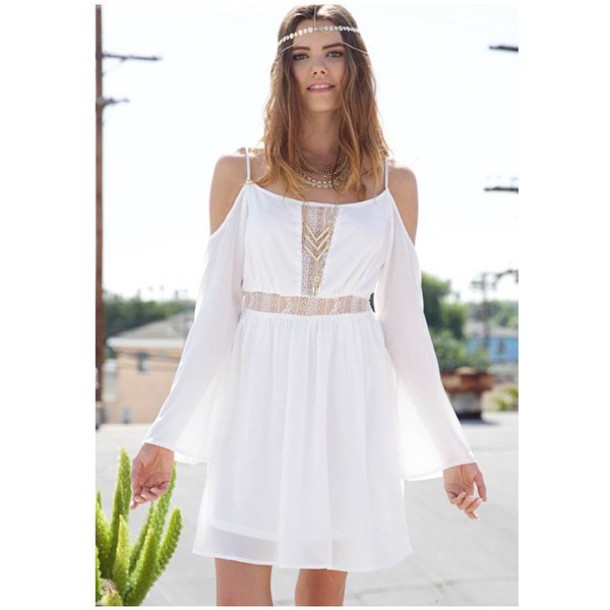 White off the shoulder bohemian dress