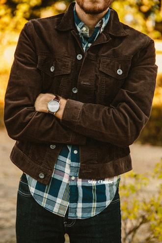 brown shirt jacket jeans stay classic blogger velvet menswear watch