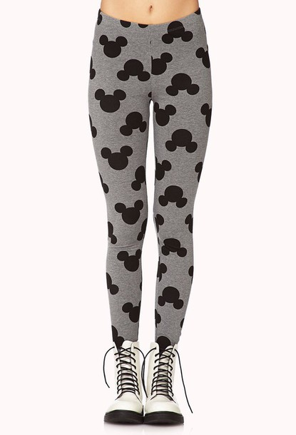 leggings grey mickey mouse mickey mouse leggings foreve21 forever 21 leggings