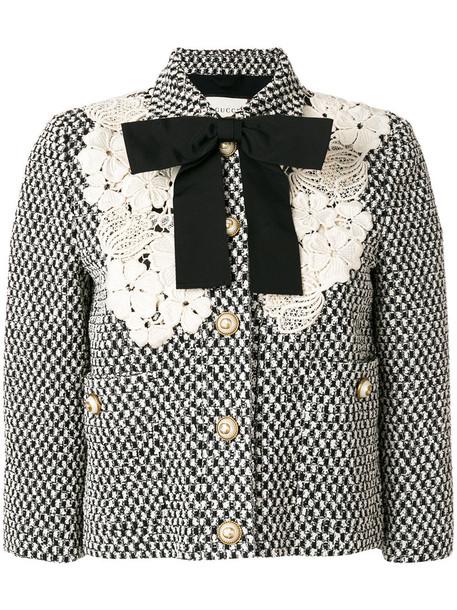 gucci jacket women lace cotton black silk