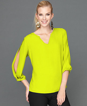 INC International Concepts Top, Split-Sleeve Blouse - Tops - Women - Macy's