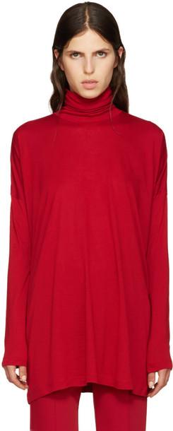 Mm6 Maison Margiela turtleneck oversized red sweater