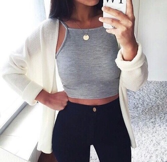 tumblr tumblr outfit crop tops grey grey crop top cardigan blouse jeans top tank top grey top cute cute top girly shirt sweater grunge black jeans crop white crop tops ribbed cropped beautiful summer grey tank top