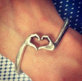 jewels bracelets handmade handmade bracelet love heart hands silver