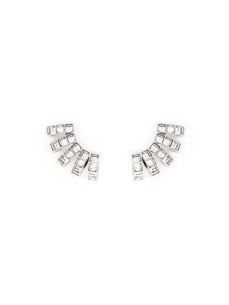 cuff women earrings grey metallic jewels