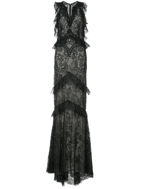 gown women lace floral black silk dress