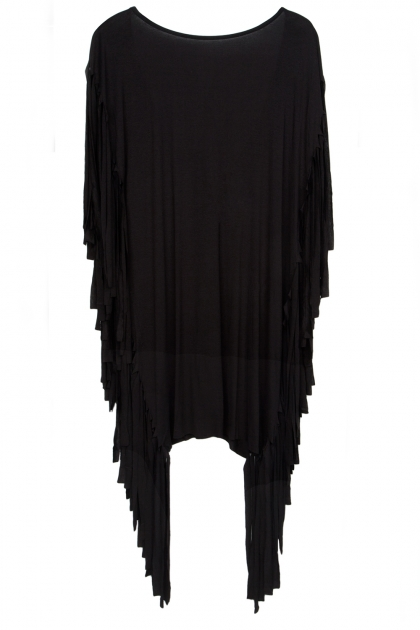 Black Fringed Mini Dress  - Fashionnoiz