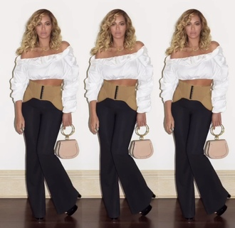 blouse top crop tops beyonce pants corset instagram off the shoulder off the shoulder top belt