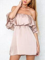 dress,pink,silk,pleat,off the shoulder dress