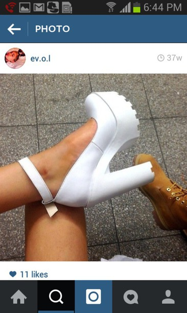 shoes heels grunge shoes help me out white heels grunge thick heel stylish shoes