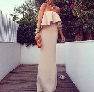 dress tan dress beige dress nude strapless maxi dress