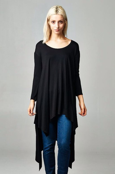 top black top asymmetrical hemline long sleeves casual trendy saturdays black shirt girly