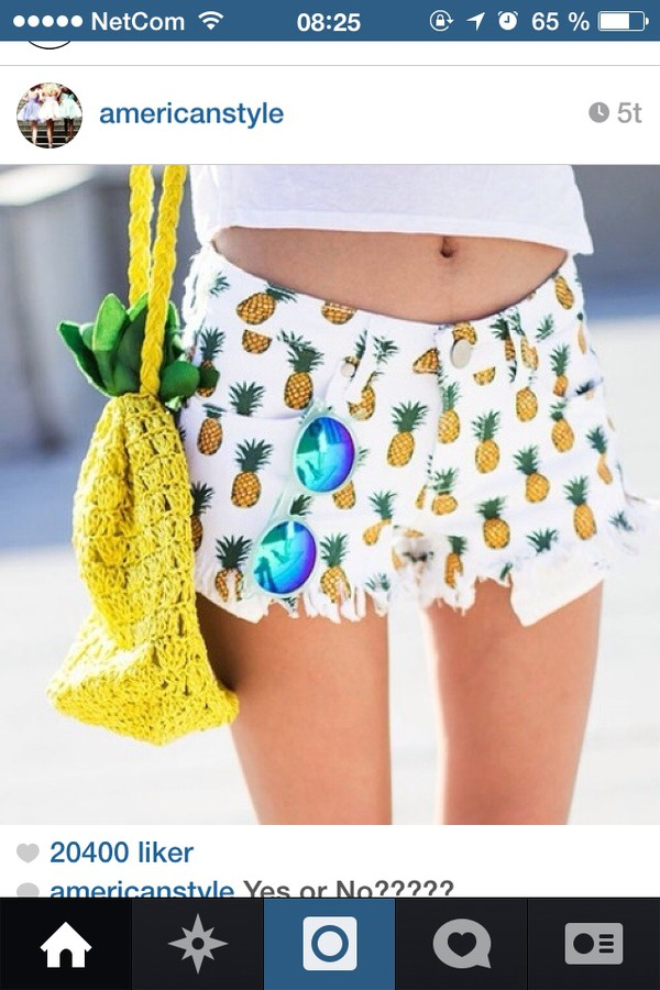 colorful shorts pineapple print bag