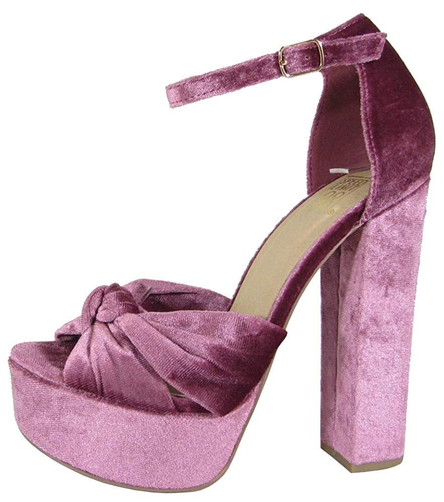 Amazon.com | Speed Limit 98 Women's Ankle Strappy Velvet Block Heel Platform Sandal, 5.5 B(M) US, Mauve | Platforms & Wedges