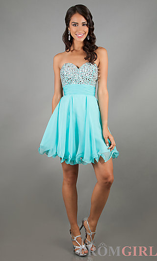 Strapless Short Prom Dresses, Beaded Strapless Dresses- PromGirl