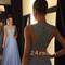 A-line round neck chiffon lace long prom dress, evening dress - 24prom