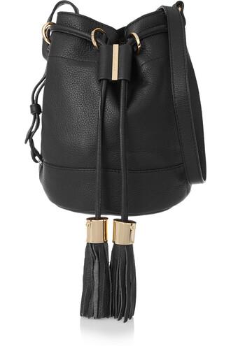 bag bucket bag leather black