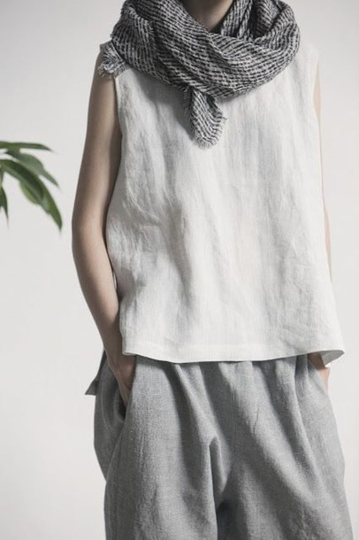 Top: white top, linen, grey pants, linen pants, fair trade, womens ...