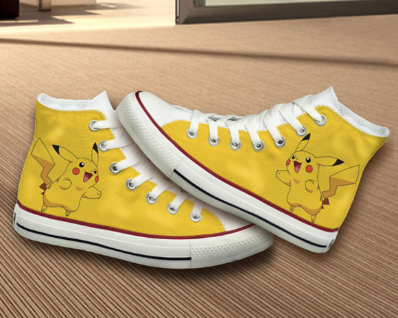 pokemon pikachu shoes converse best gifts birthday gift girlfriend gift girl hand painted shoes