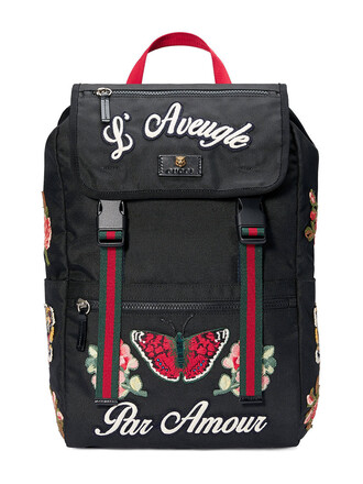 embroidered women backpack canvas backpack leather black bag