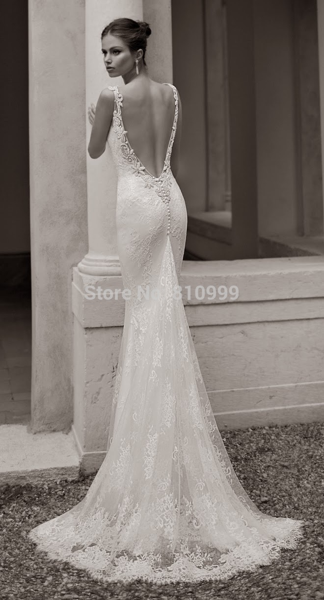 aliexpress wedding dresses Aliexpress com Buy Fashion Sexy Mermaid Backless Wedding Dress Gowns Sweetheart Elastic Material Long Bridal Gowns Lace Train Custom from Reliable