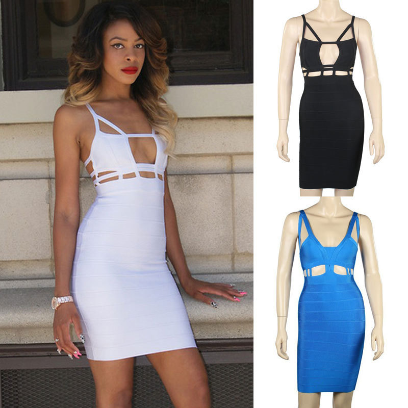 2013 cut out spaghetti strap knitted sexy hollow out bodycon HL bandage dress White/Black/Blue-in Dresses from Apparel & Accessories on Aliexpress.com