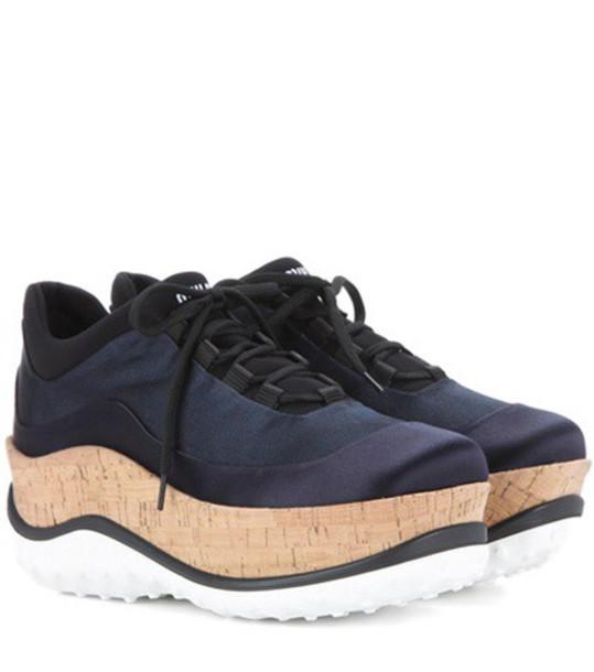 Miu Miu sneakers platform sneakers satin blue shoes