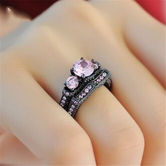 jewels three stone engagement ring pink sapphire engagement ring three main round cut pink sapphire wedding ring set in black gold plated silver women fashion ring set evolees.com