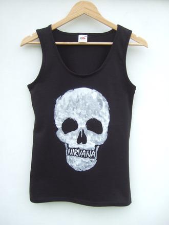 tank top nirvana skull grunge